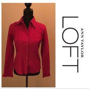 LOFT Button Down Shirt Bell Sleeves Stretch Pink